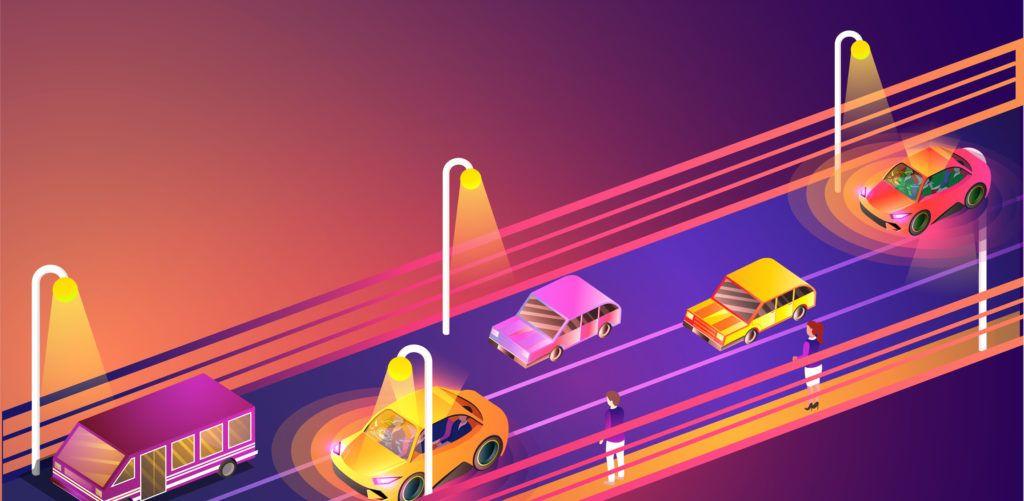 Remote Sensing technology based Autonomous Vehicles on urban landscape background. Responsive web template background.