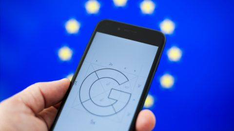 A Google logo is seen on a portable device in this photo illustration on October 15, 2018 in Warsaw, Poland. (Photo by Jaap Arriens/NurPhoto)