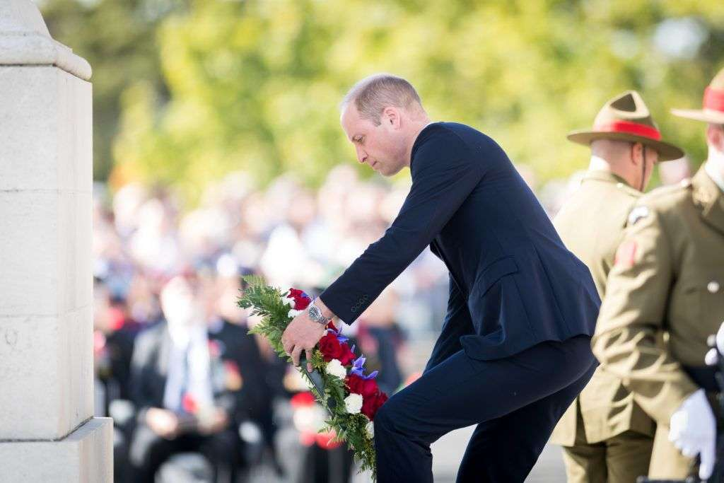 AUCKLAND, NEW ZEALAND - APRIL 25: In this handout image provided by the New Zealand Government, Prince William, Duke of Cambridge lays a wreath as he attends the Auckland War Memorial Museum on April 25, 2019 in Auckland, New Zealand. Prince William is on a two-day visit to New Zealand to commemorate the victims of the Christchurch mosque terror attacks. (Photo by Mark Tantrum/ The New Zealand Government via Getty Images)