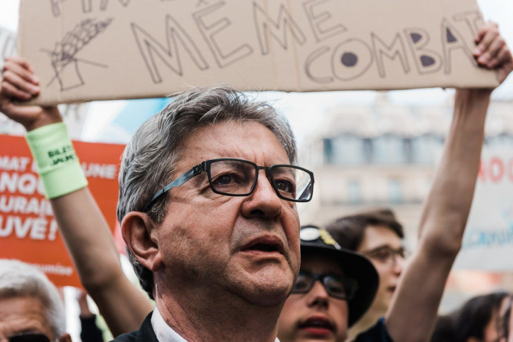 Jean-Luc Melenchon at the start of the walk for the climate. 15000 people participated to the World Climate March. The cortege started from the Place de l'Opera to the Place de la Republique. Paris, May 24, 2019. Jean-Luc Melenchon au depart de la marche pour le climat. 15000 personnes ont participe a la marche mondiale pour le climat. Le cortege est parti de la place de l Opera pour arriver a la place de la Republique. Paris, 24 mai 2019.