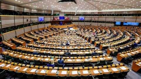 Brüsszel, 2018. november 28. Az Európai Parlament ülésterme az uniós testület plenáris ülésén Brüsszelben 2018. november 28-án. MTI/EPA/Stephanie Lecocq