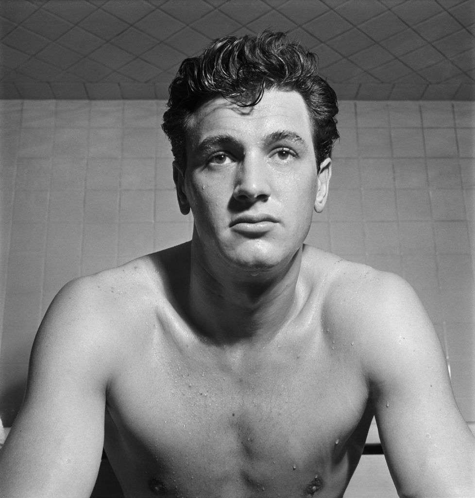 Actor Rock Hudson (1925 - 1985) at the Finlandia Baths, Hollywood California, 1950. (Photo by KM Archive/Getty Images)