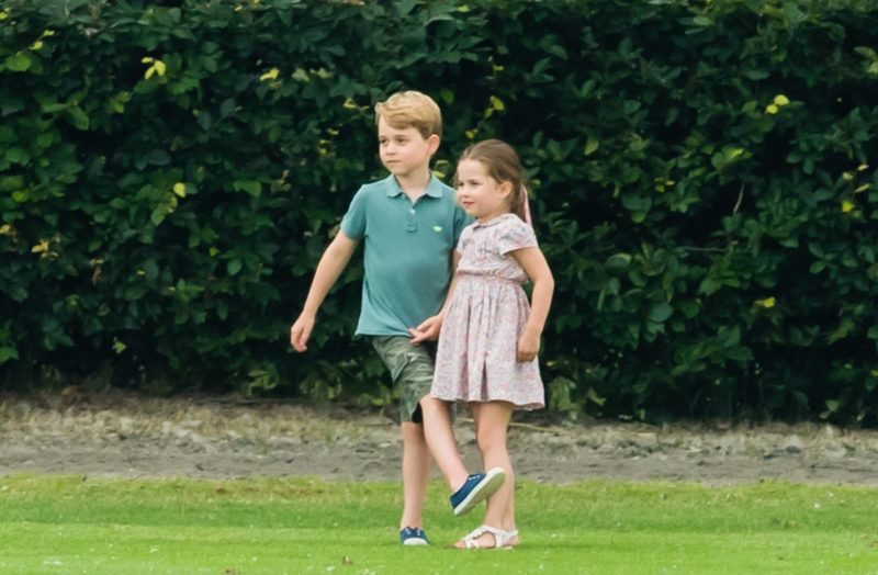 WOKINGHAM, ENGLAND - JULY 10: Prince George and Princess Charlotte attend The King Power Royal Charity Polo Day at Billingbear Polo Club on July 10, 2019 in Wokingham, England. (Photo by Samir Hussein/WireImage)