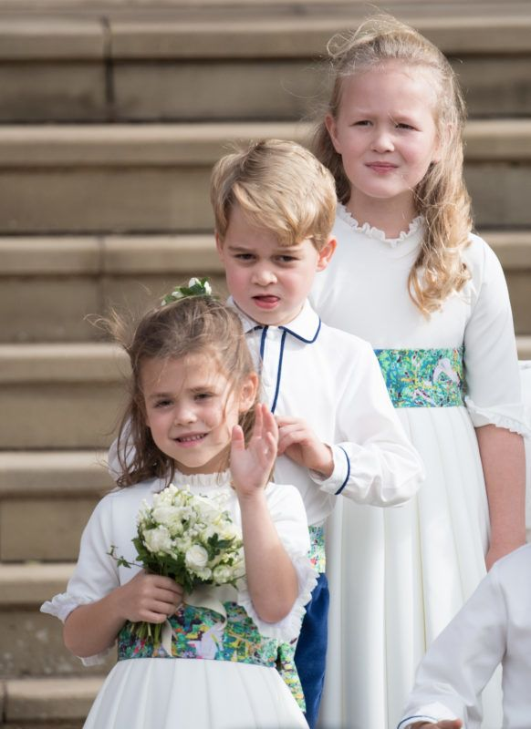 WINDSOR, ENGLAND - OCTOBER 12: Bridesmaid Theodora Williams, pageboy Prince Georeg of Cambridge and Savannah Phillips attend the wedding of Princess Eugenie of York and Jack Brooksbank at St George's Chapel in Windsor Castle on October 12, 2018 in Windsor, England. (Photo by Pool/Samir Hussein/WireImage)