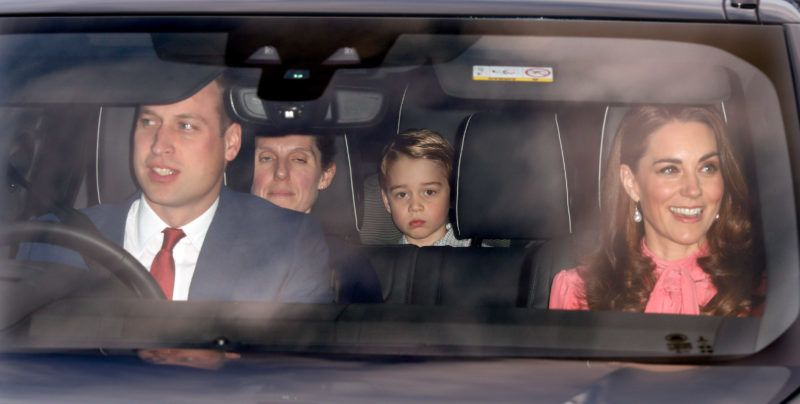 LONDON, UNITED KINGDOM - DECEMBER 19: (EMBARGOED FOR PUBLICATION IN UK NEWSPAPERS UNTIL 24 HOURS AFTER CREATE DATE AND TIME) Prince William, Duke of Cambridge, Catherine, Duchess of Cambridge and Prince George of Cambridge (accompanied by his nanny María Borrallo) attend a Christmas lunch for members of the Royal Family hosted by Queen Elizabeth II at Buckingham Palace on December 19, 2018 in London, England. (Photo by Max Mumby/Indigo/Getty Images)