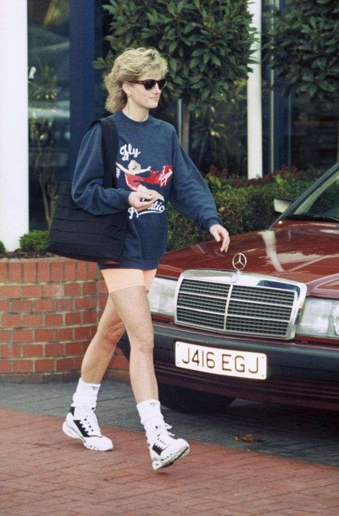 LONDON - NOVEMBER 01: Princess Diana, Princess of Wales, wearing Virgin Atlantic sweatshirt and shorts, leaves Chelsea Harbour Club, London on November 01, 1995 in London, England (Photo by Anwar Hussein/Getty Images)