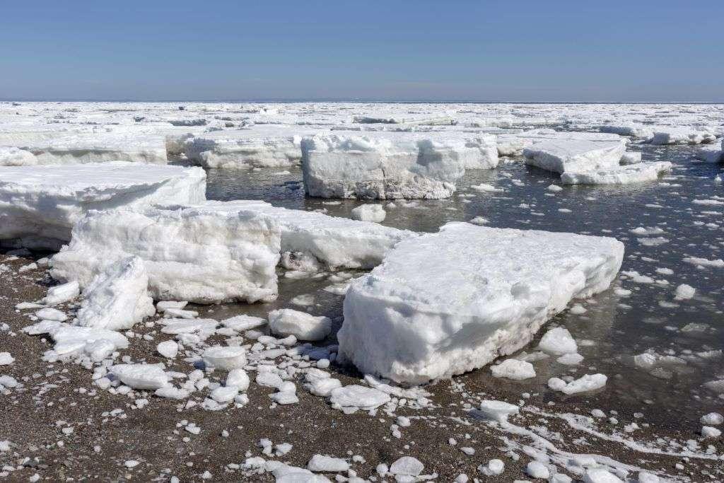 Canada, Province of New Brunswick, Chaleur Region, Chaleur Bay, Beresford Beach during spring ice melt