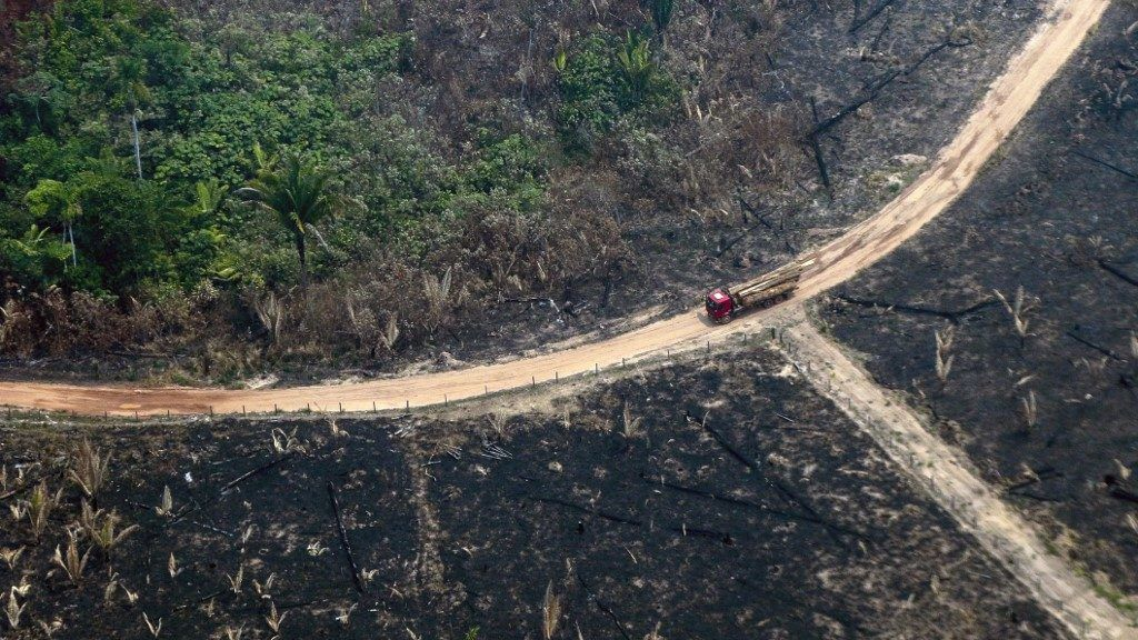 Aerial view of burnt areas of the Amazon rainforest, near Boca do Acre, Amazonas state, Brazil, in the Amazon basin, on August 24, 2019. - President Jair Bolsonaro authorized Friday the deployment of Brazil's armed forces to help combat fires raging in the Amazon rainforest, as a growing global outcry over the blazes sparks protests and threatens a huge trade deal. (Photo by Lula SAMPAIO / AFP)